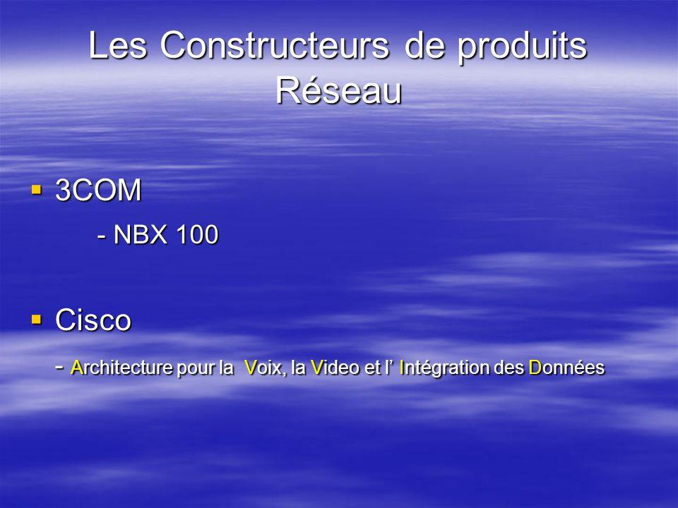 Les Constructeurs de produits Réseau