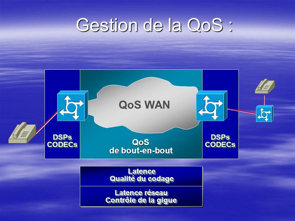Gestion de la QoS : QoS WAN QoS de bout-en-bout DSPs CODECs DSPs