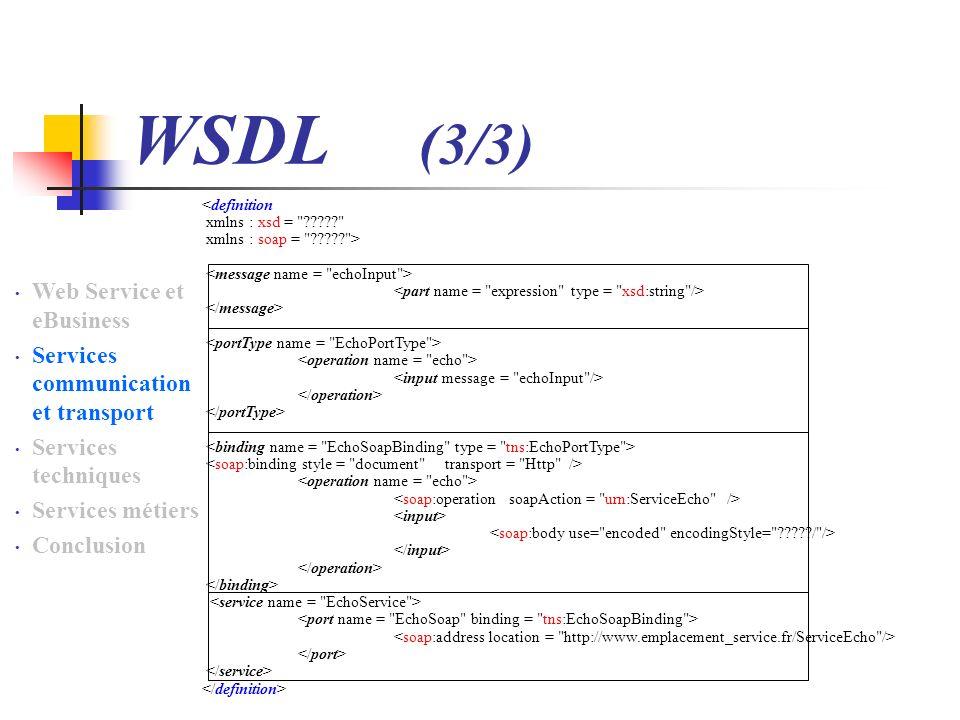 WSDL (3/3) Web Service et eBusiness