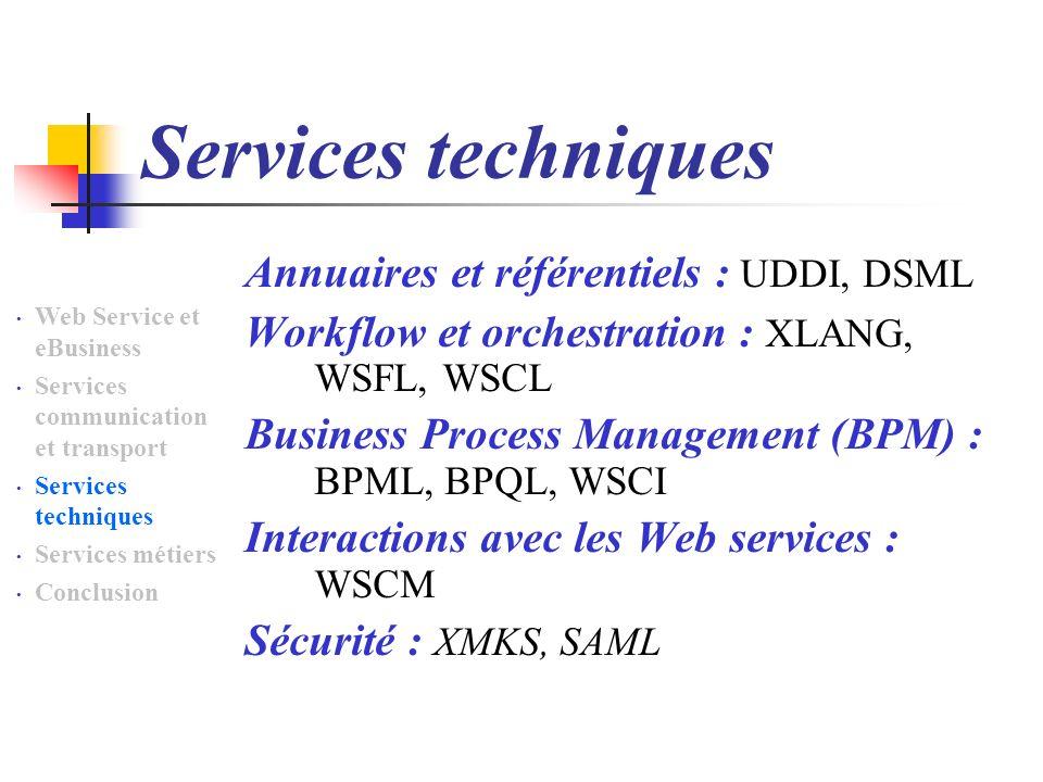 Services techniques Annuaires et référentiels : UDDI, DSML