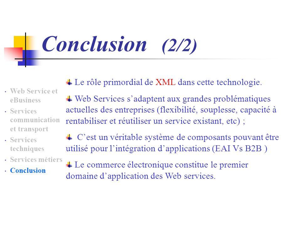 Conclusion (2/2) Le rôle primordial de XML dans cette technologie.