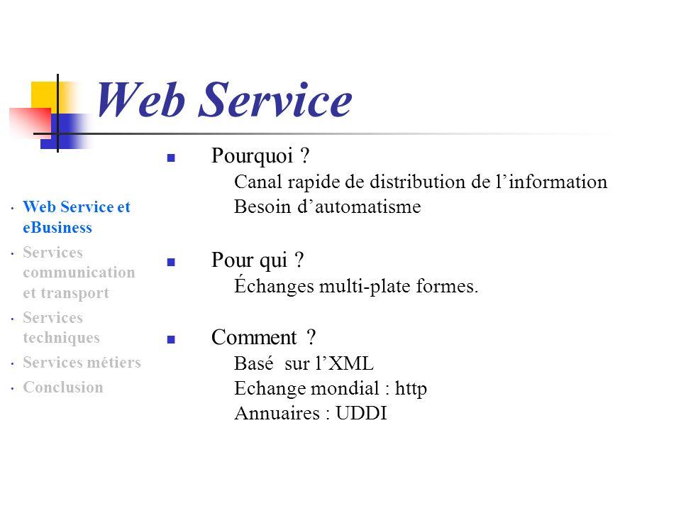 Web Service Pourquoi Pour qui Comment