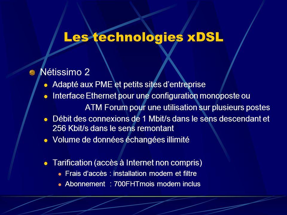 Les technologies xDSL Nétissimo 2