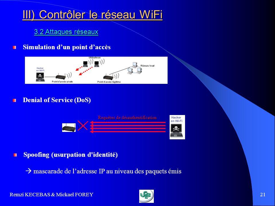 III) Contrôler le réseau WiFi