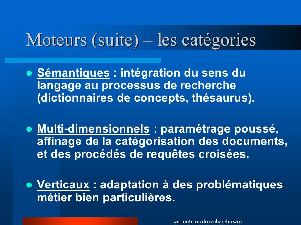 Moteurs (suite) – les catégories