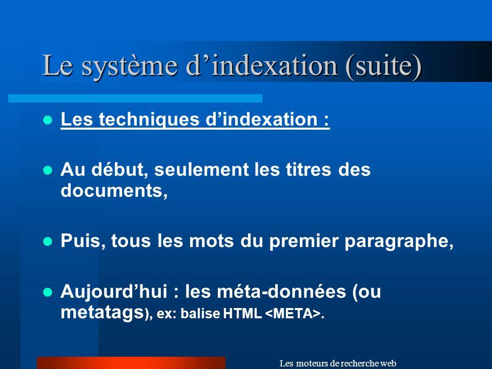Le système d'indexation (suite)