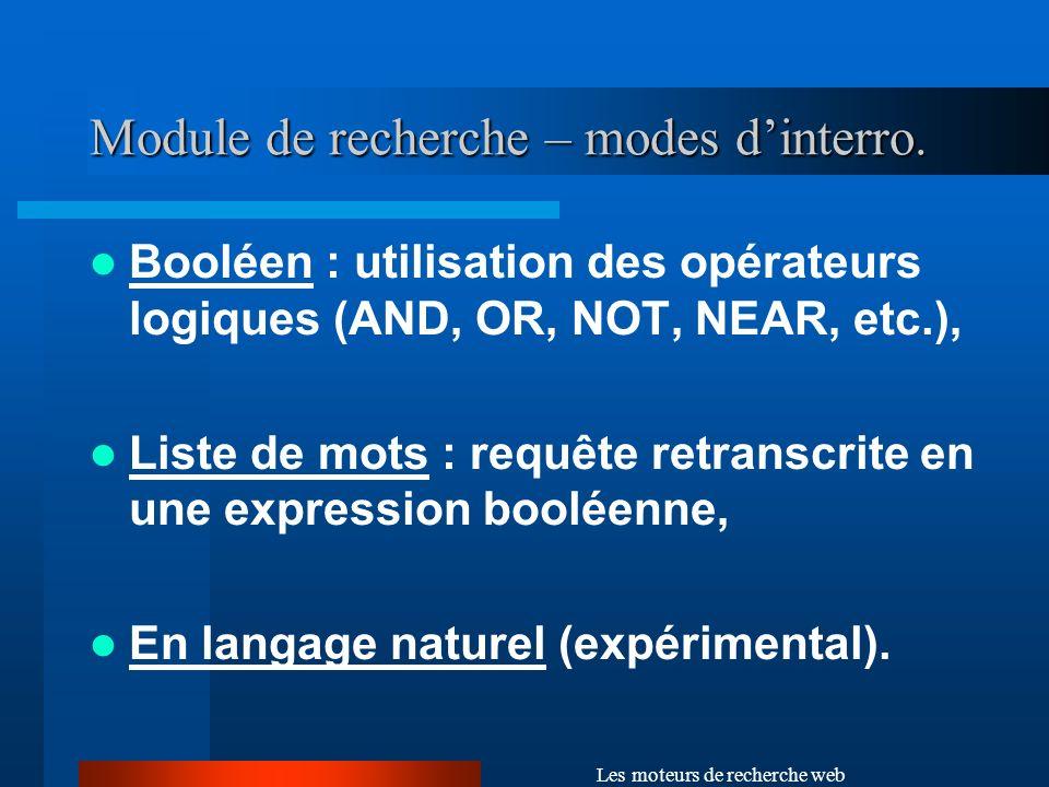 Module de recherche – modes d'interro.