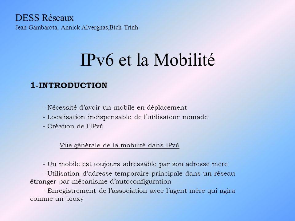 IPv6 et la Mobilité DESS Réseaux 1-INTRODUCTION