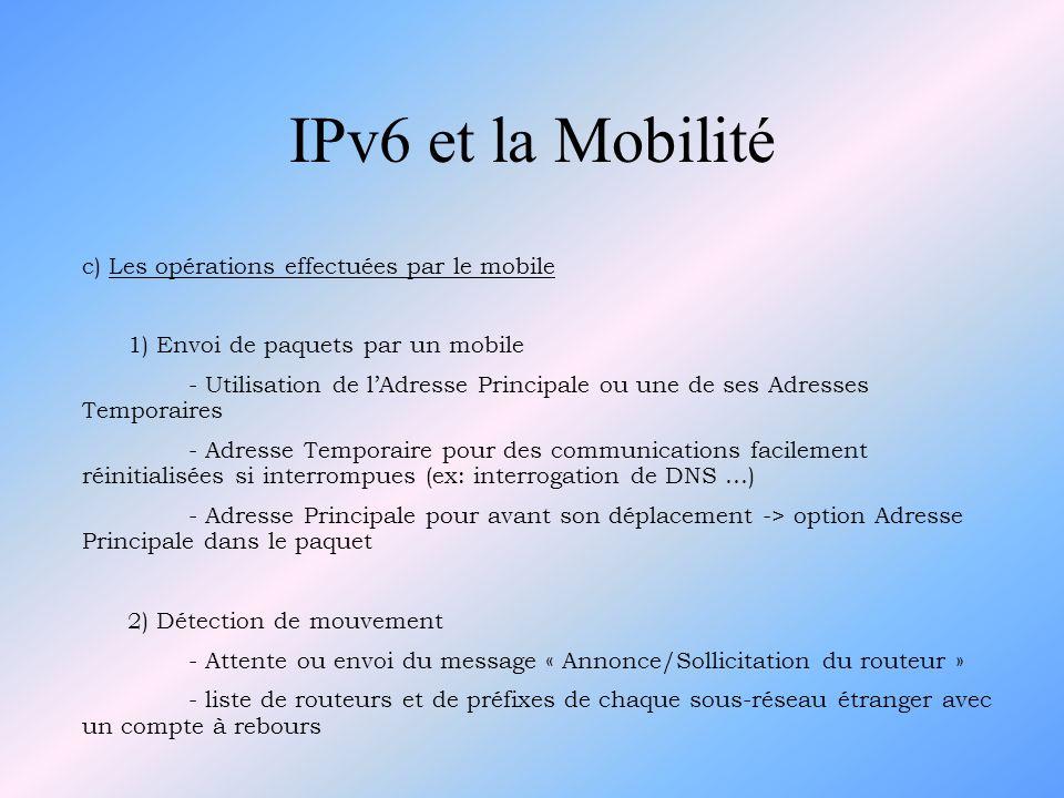 IPv6 et la Mobilité c) Les opérations effectuées par le mobile