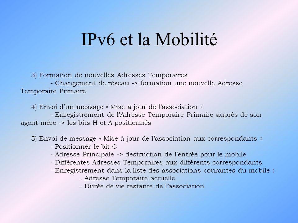 IPv6 et la Mobilité 3) Formation de nouvelles Adresses Temporaires