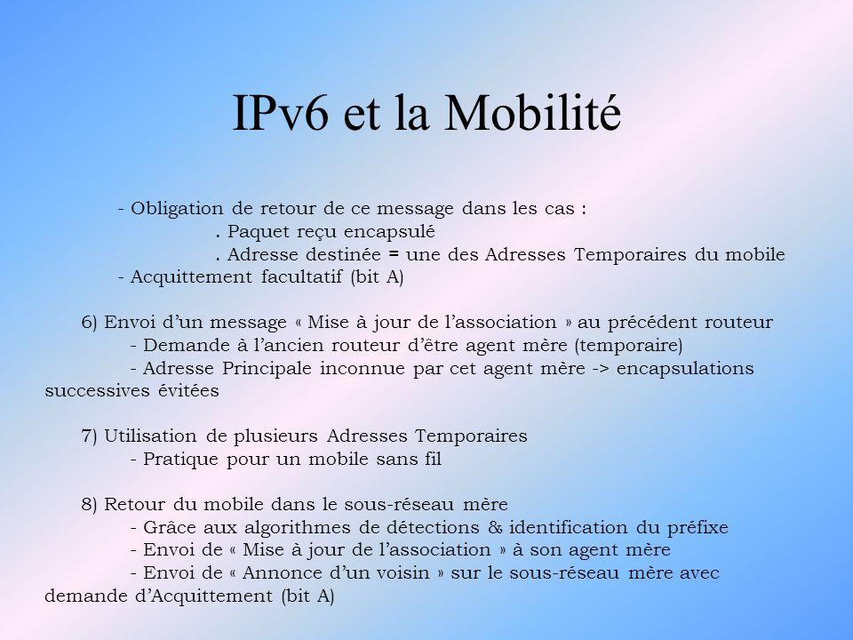 IPv6 et la Mobilité - Obligation de retour de ce message dans les cas : . Paquet reçu encapsulé.