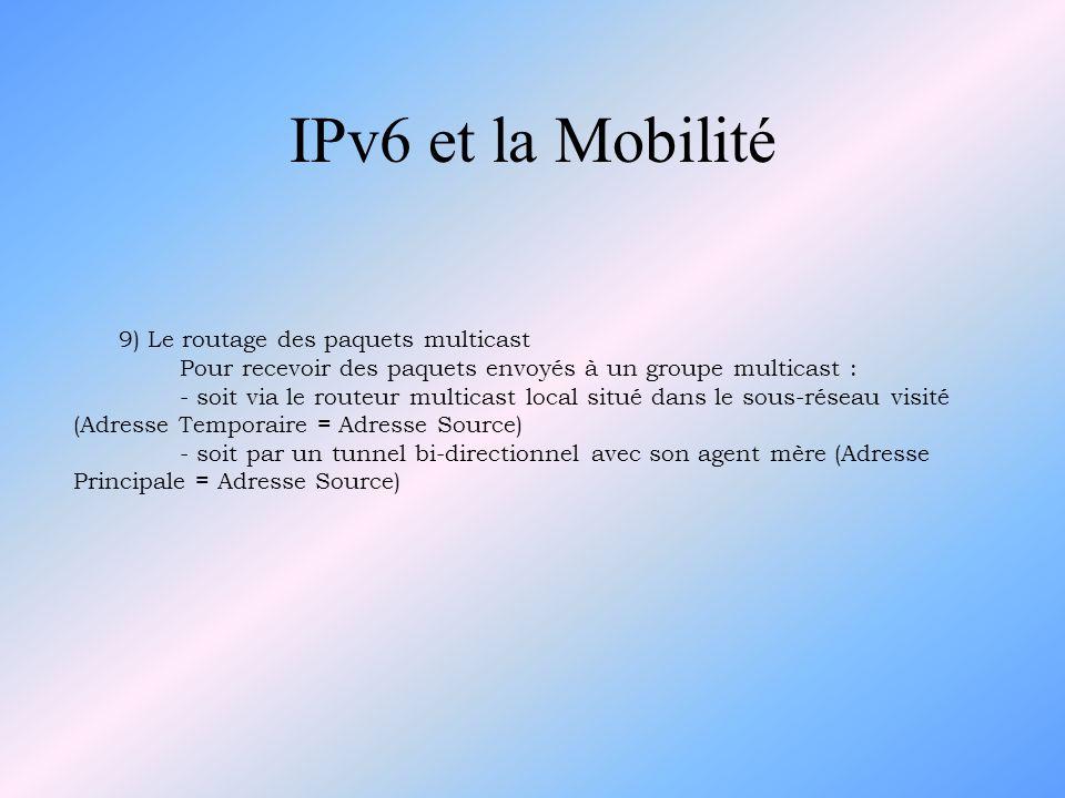 IPv6 et la Mobilité 9) Le routage des paquets multicast