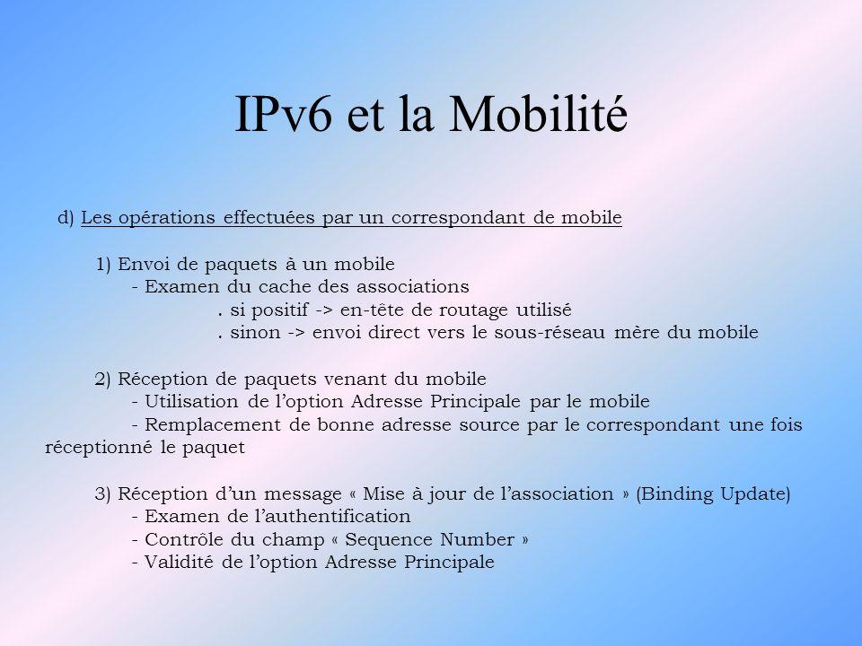 IPv6 et la Mobilité d) Les opérations effectuées par un correspondant de mobile. 1) Envoi de paquets à un mobile.