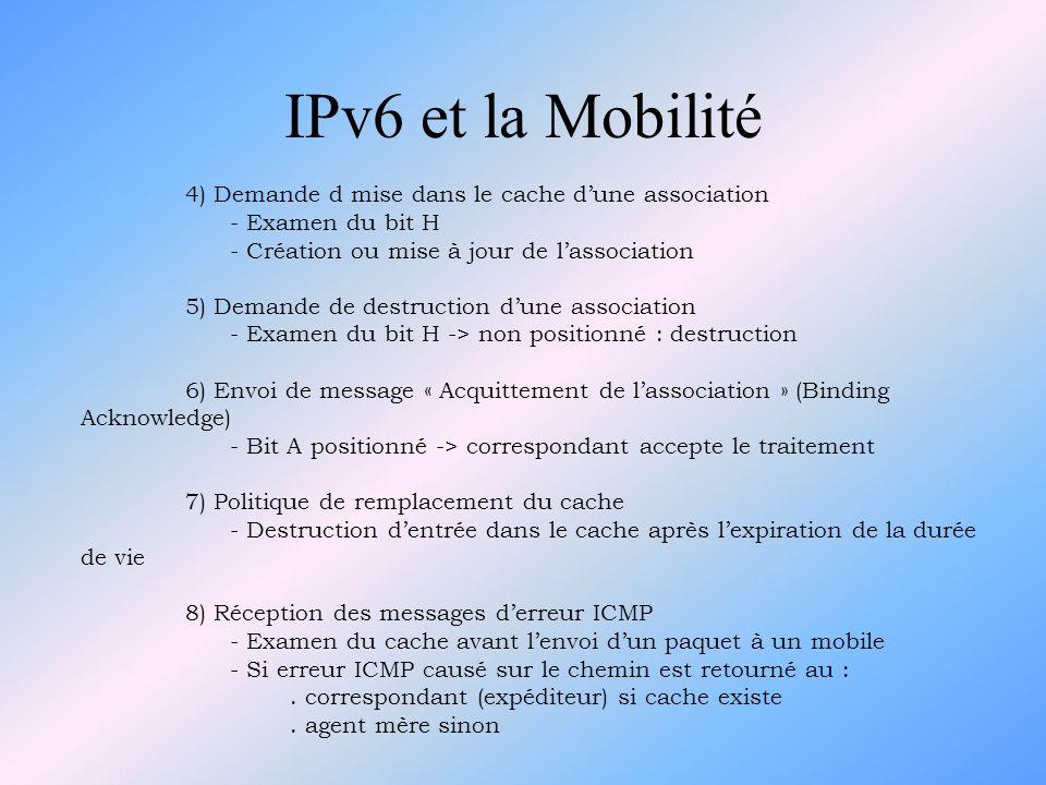 IPv6 et la Mobilité 4) Demande d mise dans le cache d'une association