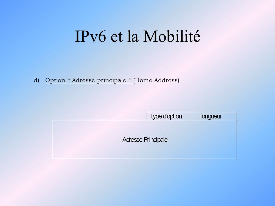 IPv6 et la Mobilité d) Option Adresse principale (Home Address)