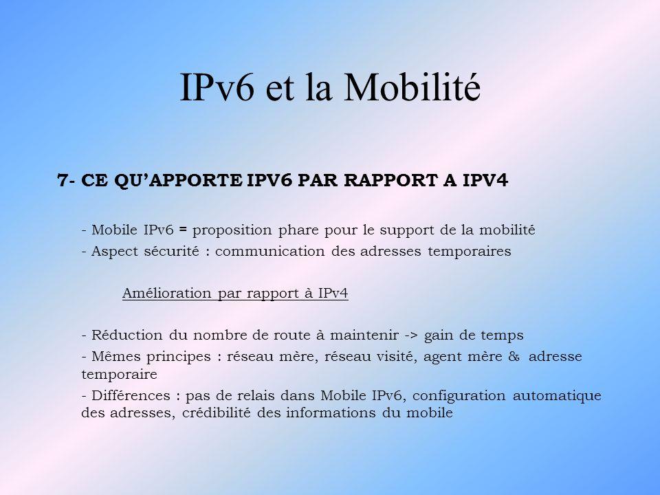 IPv6 et la Mobilité 7- CE QU'APPORTE IPV6 PAR RAPPORT A IPV4