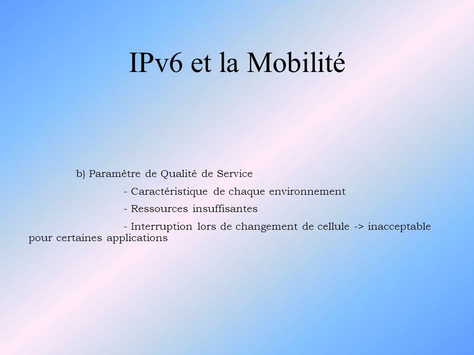 IPv6 et la Mobilité b) Paramètre de Qualité de Service