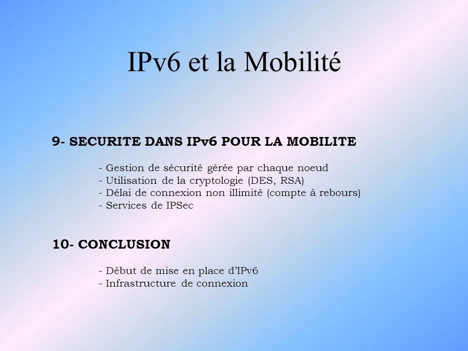 IPv6 et la Mobilité 9- SECURITE DANS IPv6 POUR LA MOBILITE