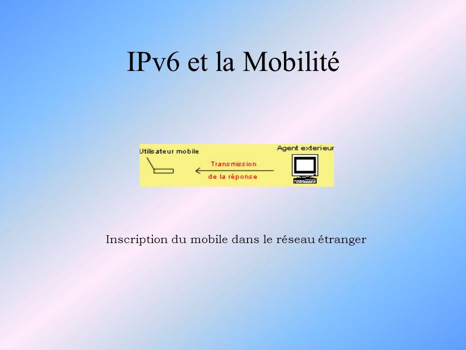 IPv6 et la Mobilité Inscription du mobile dans le réseau étranger