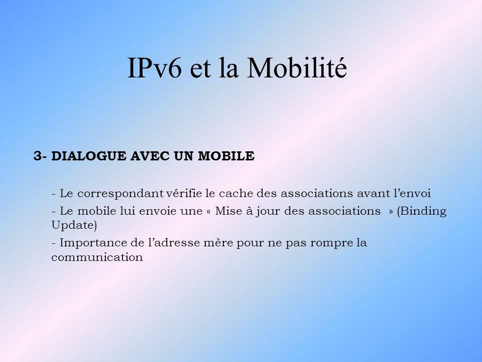 IPv6 et la Mobilité 3- DIALOGUE AVEC UN MOBILE