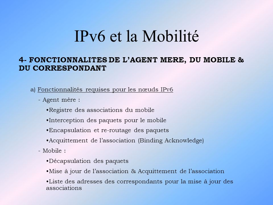 IPv6 et la Mobilité 4- FONCTIONNALITES DE L'AGENT MERE, DU MOBILE & DU CORRESPONDANT. a) Fonctionnalités requises pour les nœuds IPv6.