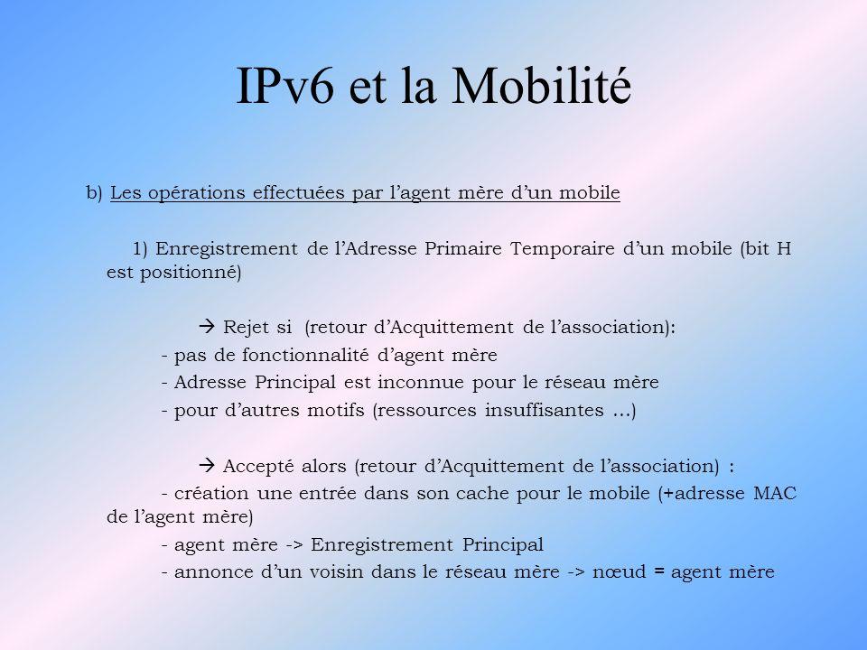 IPv6 et la Mobilitéb) Les opérations effectuées par l'agent mère d'un mobile.
