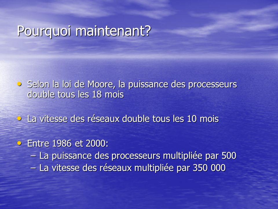 Pourquoi maintenant Selon la loi de Moore, la puissance des processeurs double tous les 18 mois. La vitesse des réseaux double tous les 10 mois.