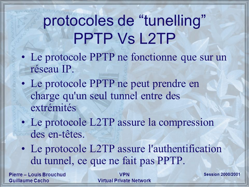 protocoles de tunelling PPTP Vs L2TP