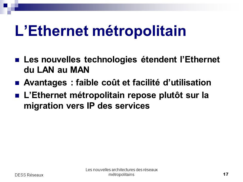 L'Ethernet métropolitain