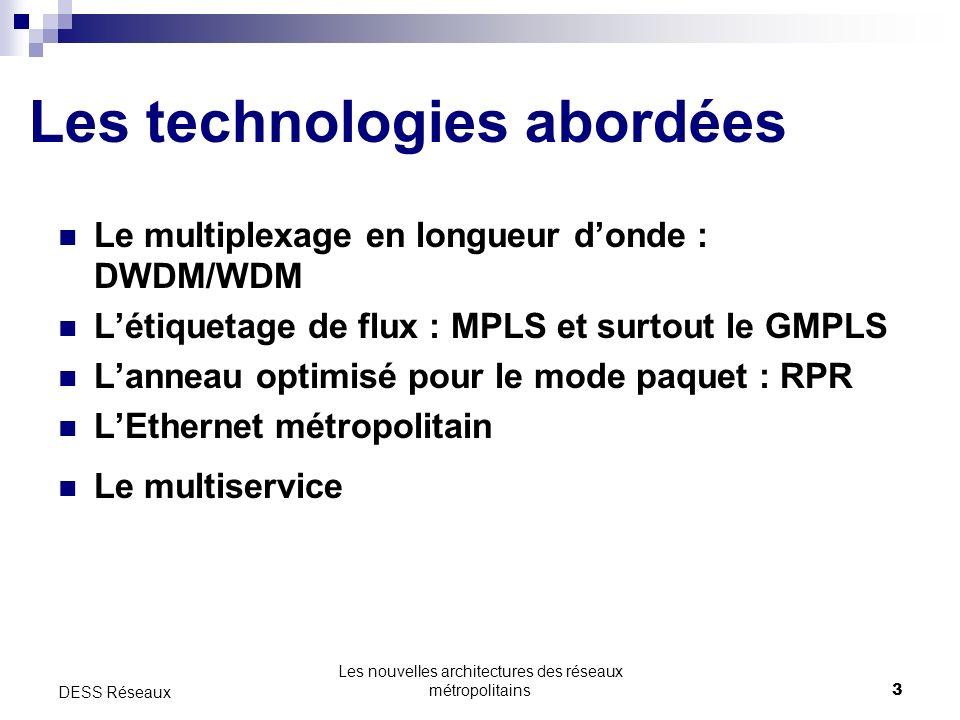 Les technologies abordées