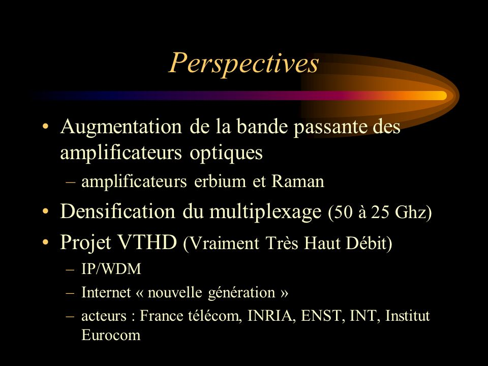 Perspectives Augmentation de la bande passante des amplificateurs optiques. amplificateurs erbium et Raman.