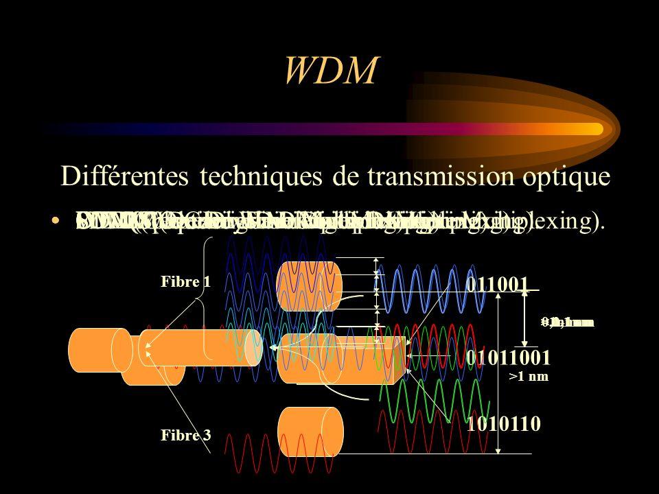 Différentes techniques de transmission optique