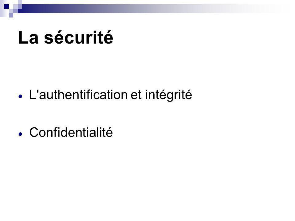 La sécurité L authentification et intégrité Confidentialité