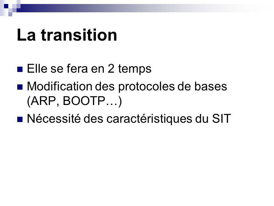 La transition Elle se fera en 2 temps