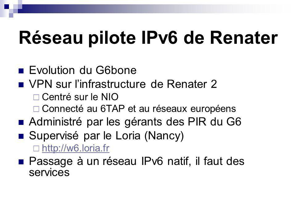 Réseau pilote IPv6 de Renater