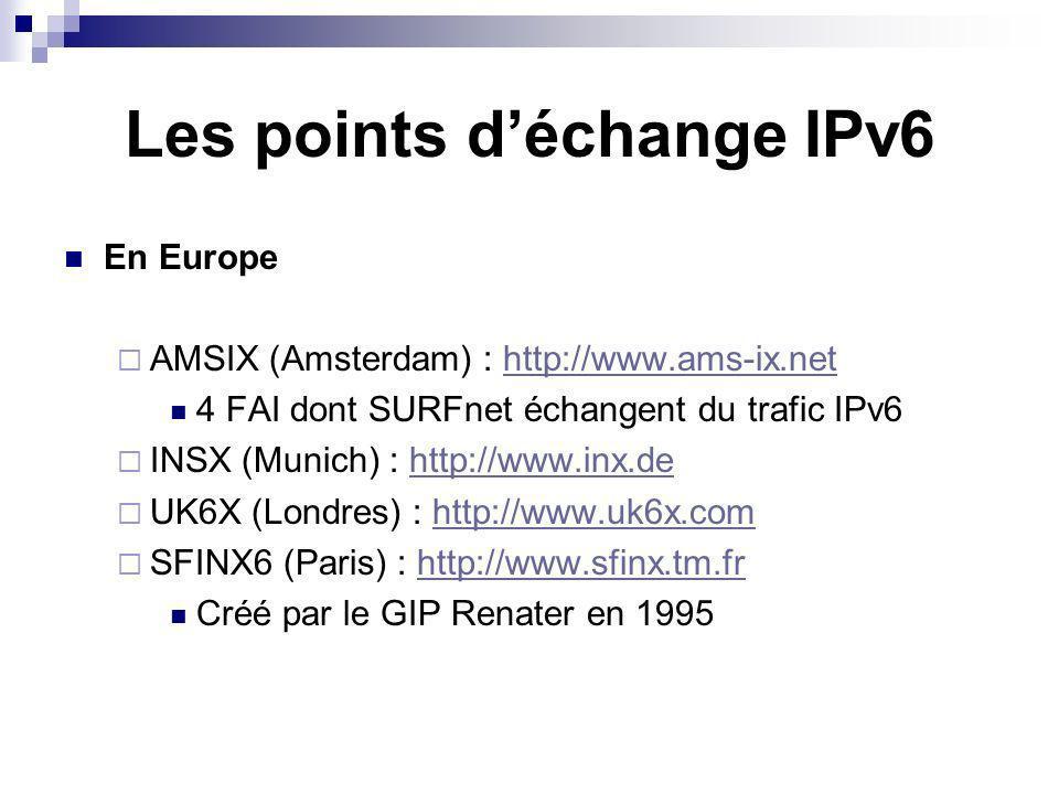 Les points d'échange IPv6
