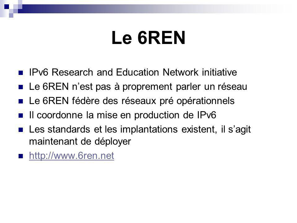 Le 6REN IPv6 Research and Education Network initiative