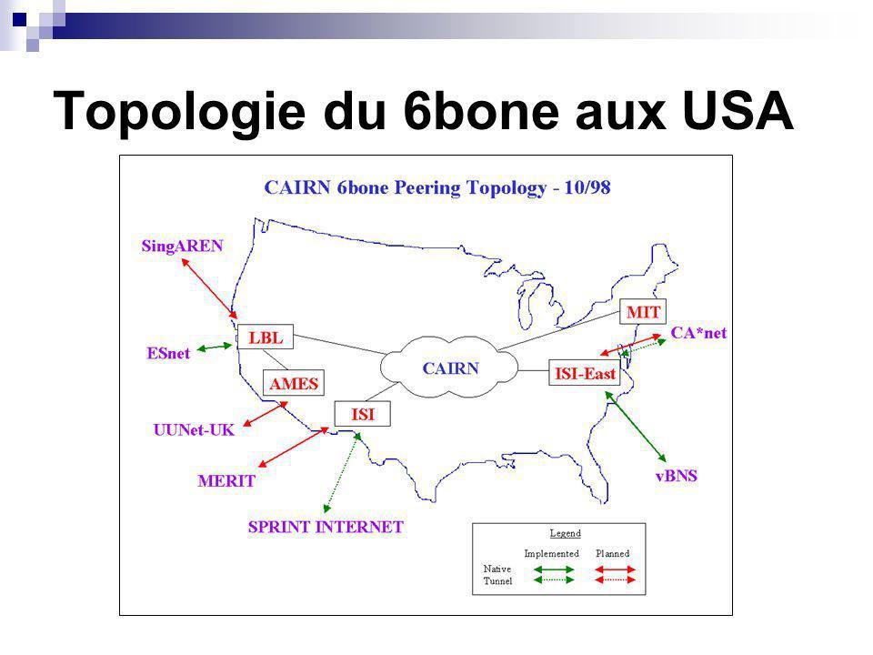 Topologie du 6bone aux USA
