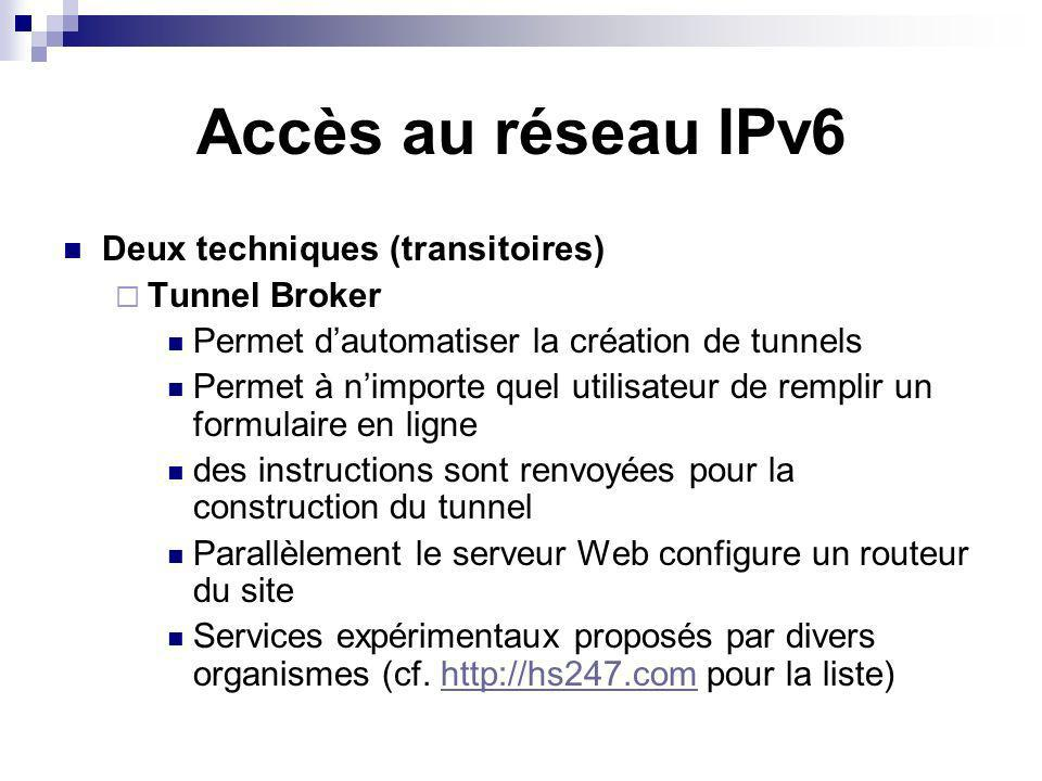 Accès au réseau IPv6 Deux techniques (transitoires) Tunnel Broker