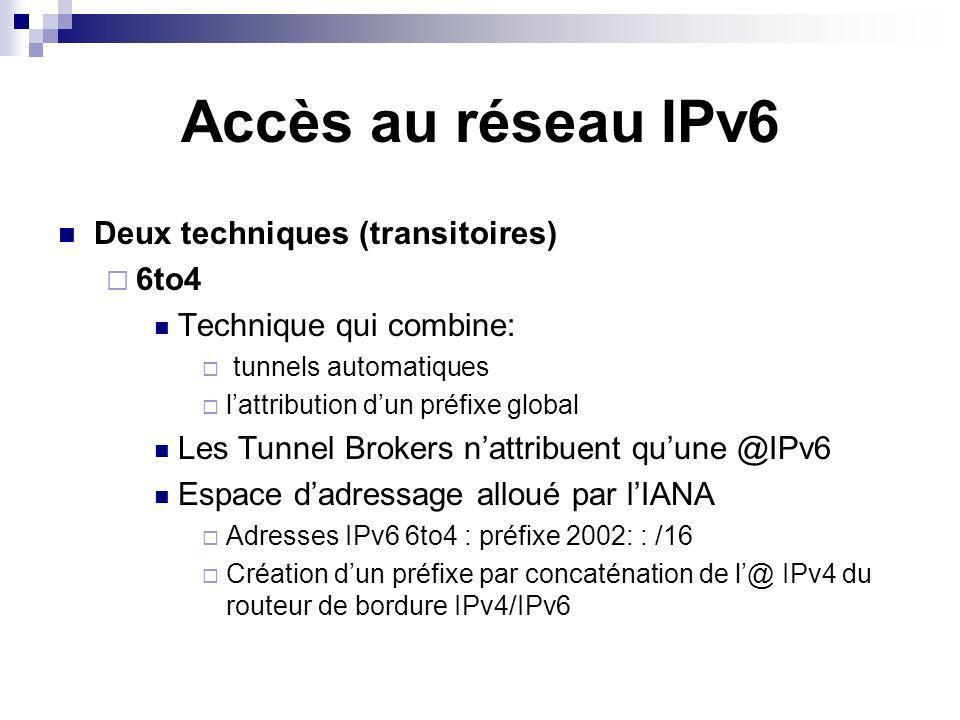Accès au réseau IPv6 Deux techniques (transitoires) 6to4