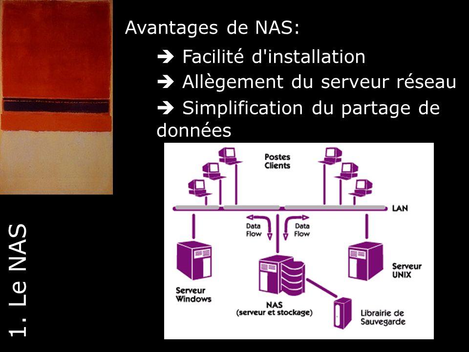 1. Le NAS Avantages de NAS:  Facilité d installation