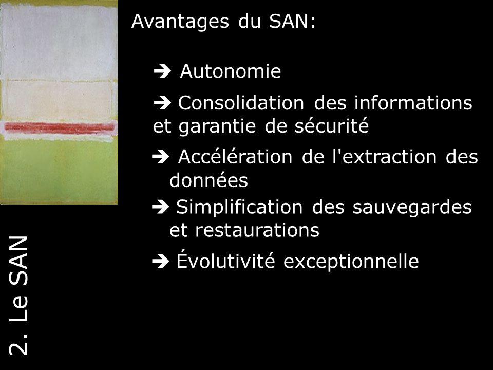 2. Le SAN Avantages du SAN:  Autonomie Consolidation des informations
