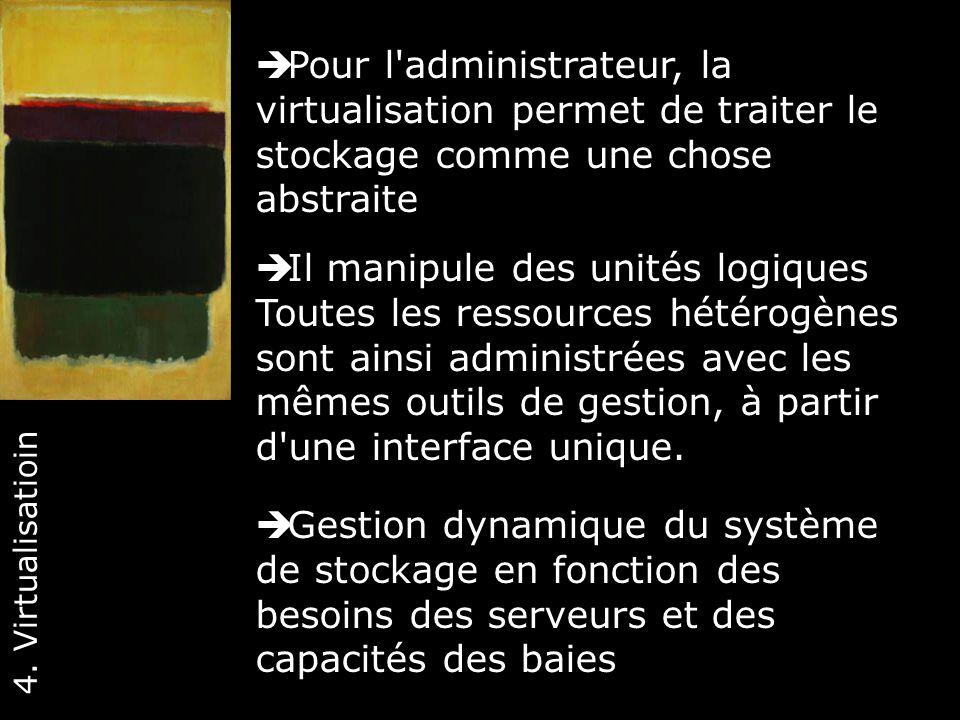 Pour l administrateur, la virtualisation permet de traiter le stockage comme une chose abstraite