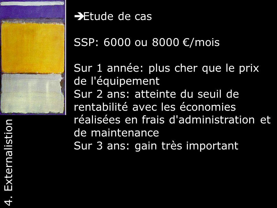 Etude de cas SSP: 6000 ou 8000 €/mois. Sur 1 année: plus cher que le prix de l équipement.