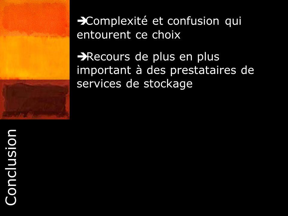 Conclusion Complexité et confusion qui entourent ce choix