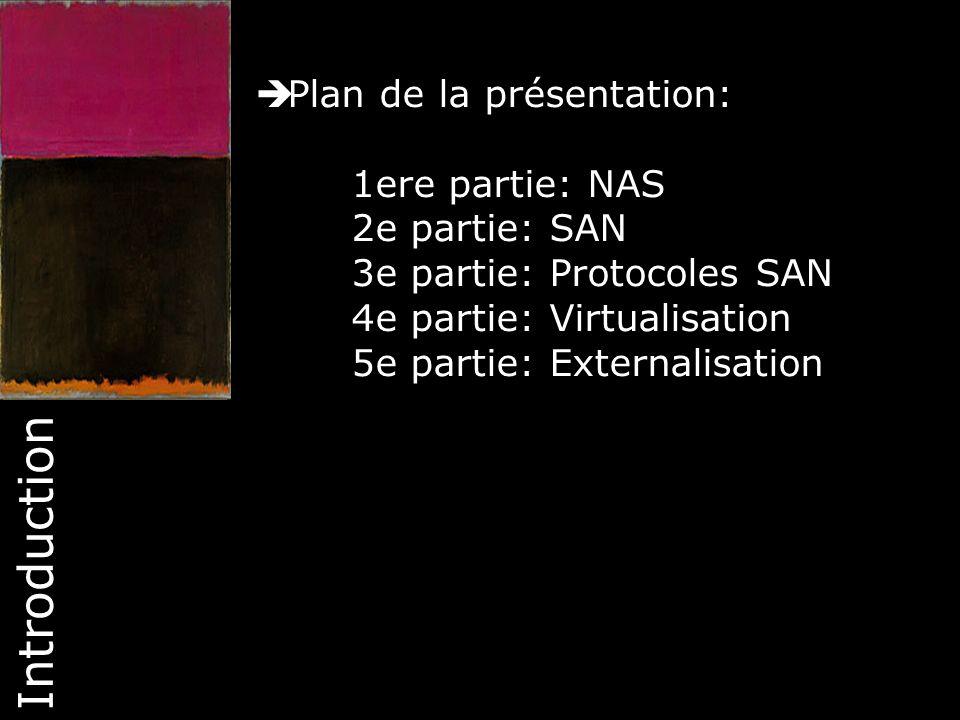 Introduction Plan de la présentation: 1ere partie: NAS 2e partie: SAN