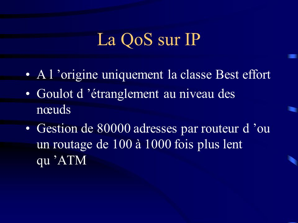 La QoS sur IP A l 'origine uniquement la classe Best effort