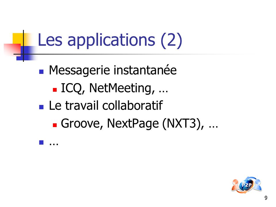 Les applications (2) Messagerie instantanée ICQ, NetMeeting, …