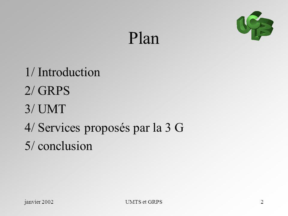 Plan 1/ Introduction 2/ GRPS 3/ UMT 4/ Services proposés par la 3 G