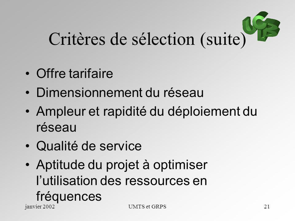 Critères de sélection (suite)